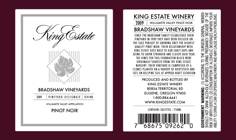 Bradshaw Vineyards Label Design 1335