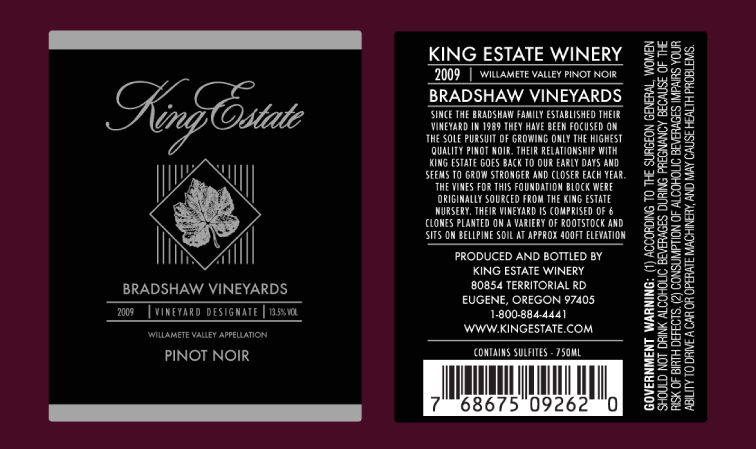 Bradshaw Vineyards Label Design 1345