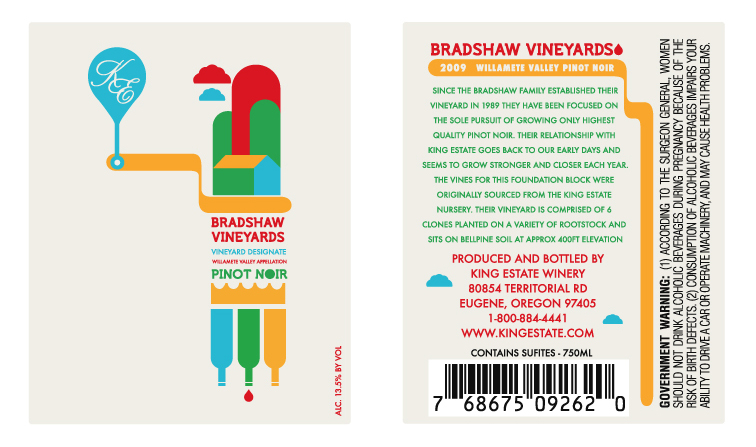 King Estate Winery Bradshaw Vineyards Label Design 1361