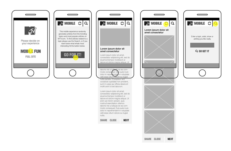 MTV Mobile UI / UX Explorations 1703