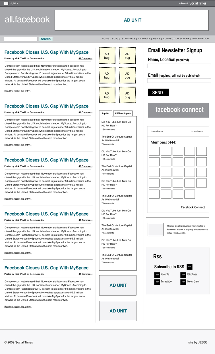 All Facebook Branding, Website and Stat Tracker UI 708